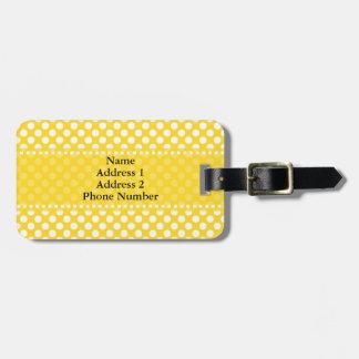 White and Yellow Polka Dot Luggage Tag