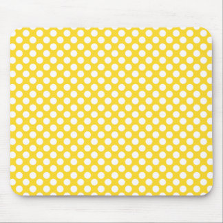 White and Yellow Polka Dot Mouse Pads