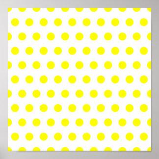 White and Yellow Polka Dot Poster