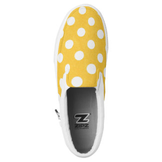 White and Yellow Polka Dots zip shoes