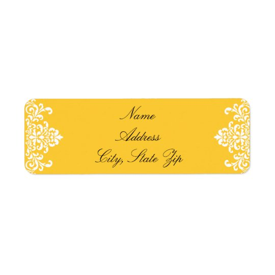 White and Yellow Return Address Label
