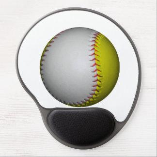 White and Yellow Softball / Baseball Gel Mouse Pad