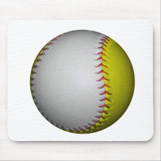 White and Yellow Softball / Baseball Mouse Pad