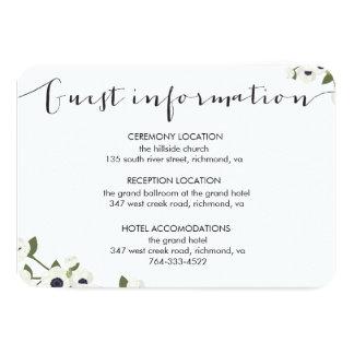 "White Anemone Flower Wedding Information Card 3.5"" X 5"" Invitation Card"