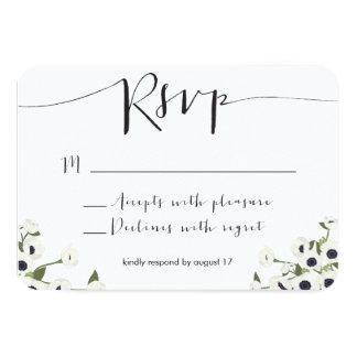 "White Anemone Flower Wedding RSVP Card 3.5"" X 5"" Invitation Card"