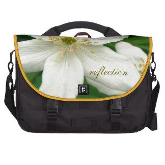 White Anemone Flowers Laptop Messenger Bag
