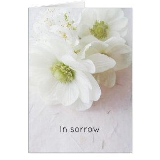 White anemones on texture sympathy card