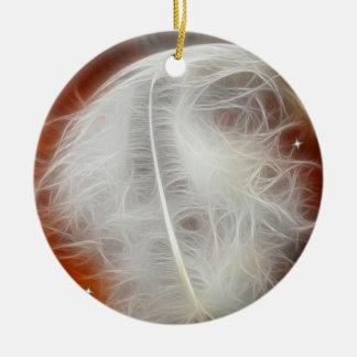 White Angel Feather Ceramic Ornament