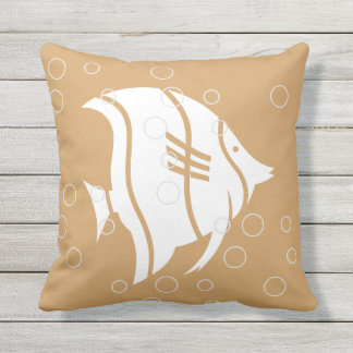 White Angel fish on sand Tan PILLOW