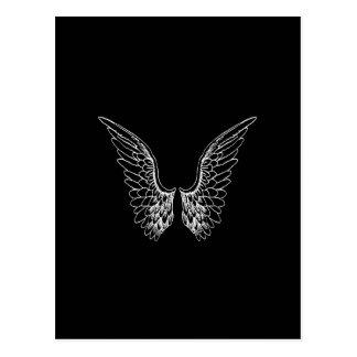 White Angel Wings on Black Background Postcard