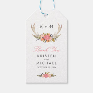White Antler Rustic Floral Wedding Thank You Gift Tags