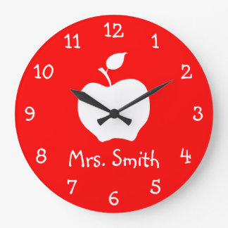 White Apple Large Clock