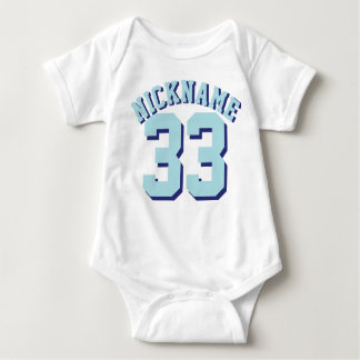 White & Aqua Baby | Sports Jersey Design Baby Bodysuit