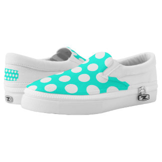 White & Aqua Green Women/Men Slip On Printed Shoes