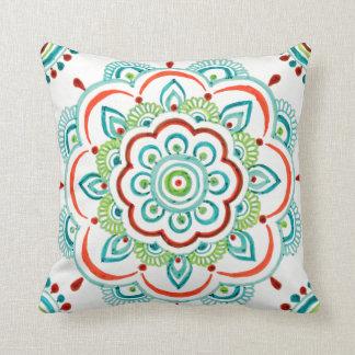 white/Aqua vintage mandala design pillow