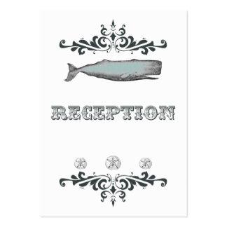 White Aqua Vintage Whale Wedding Reception Card Business Card