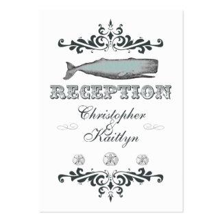 White Aqua Vintage Whale Wedding Reception Card Business Card Template