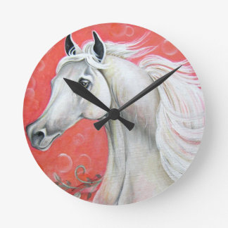 White Arabian Horse Clock