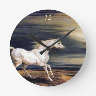 White Arabian Horse Painting Wall Clock