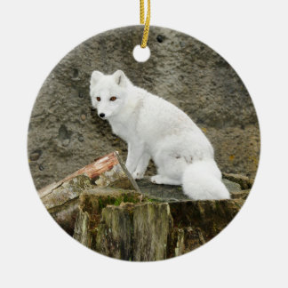 White arctic fox christmas ornament
