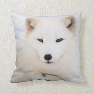 White arctic fox in snow throw pillow