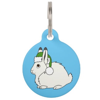 White Arctic Hare with Christmas Green Santa Hat Pet ID Tags