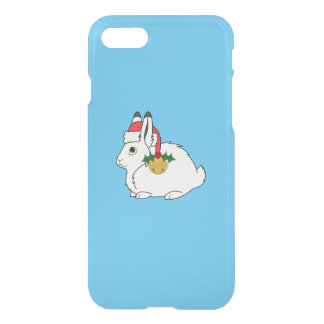 White Arctic Hare with Santa Hat & Gold Bell iPhone 7 Case