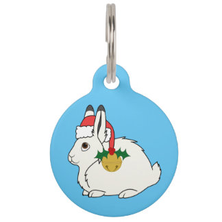 White Arctic Hare with Santa Hat & Gold Bell Pet ID Tags