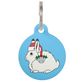 White Arctic Hare with Santa Hat & Silver Bell Pet ID Tags