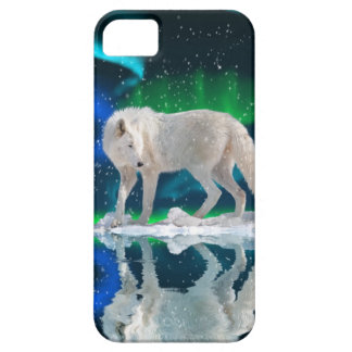 White Arctic Wolf & Northern Lights iPhone 5 Case