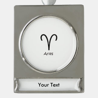 White Aries Zodiac March 21 - April 19 Astrology Silver Plated Banner Ornament
