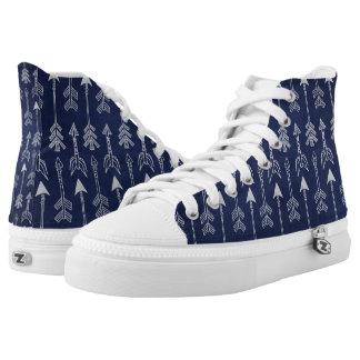 White Arrow Hi-top Shoes (Blue)
