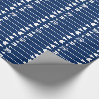 White Arrows on Navy Blue Wrapping Paper