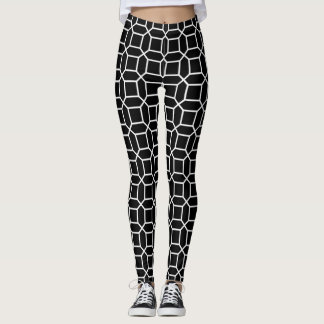 White art deco octagon pattern on black leggings