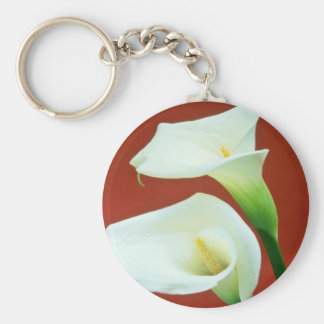 white Arum lily flowers Key Ring