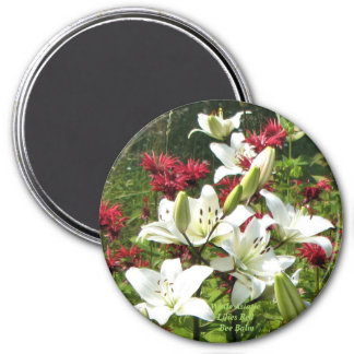 White Asiatic Lilies Red Bee Balm Magnet