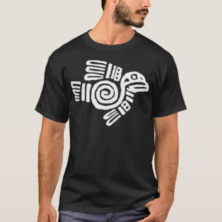 White Aztec Bird Symbol T-Shirt