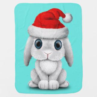 White Baby Bunny Wearing a Santa Hat Baby Blanket