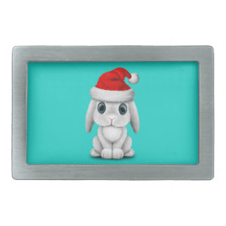 White Baby Bunny Wearing a Santa Hat Belt Buckles