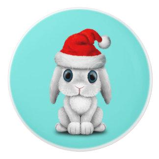 White Baby Bunny Wearing a Santa Hat Ceramic Knob