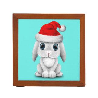 White Baby Bunny Wearing a Santa Hat Desk Organiser