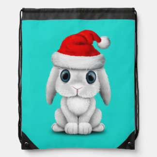 White Baby Bunny Wearing a Santa Hat Drawstring Bag