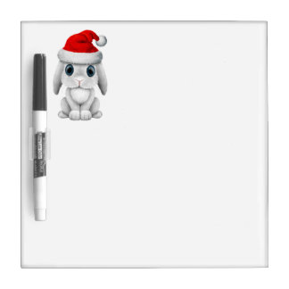 White Baby Bunny Wearing a Santa Hat Dry Erase Board