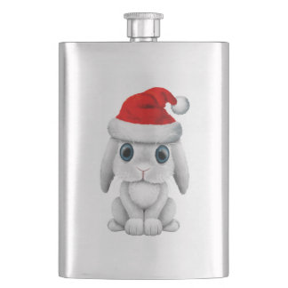White Baby Bunny Wearing a Santa Hat Hip Flask