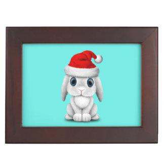 White Baby Bunny Wearing a Santa Hat Keepsake Box