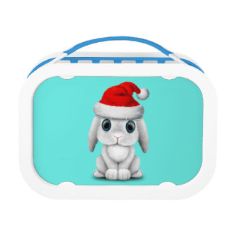 White Baby Bunny Wearing a Santa Hat Lunch Box