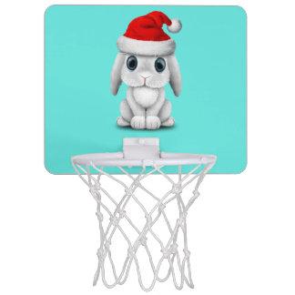 White Baby Bunny Wearing a Santa Hat Mini Basketball Hoop