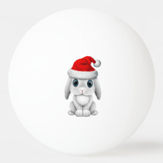 White Baby Bunny Wearing a Santa Hat Ping Pong Ball