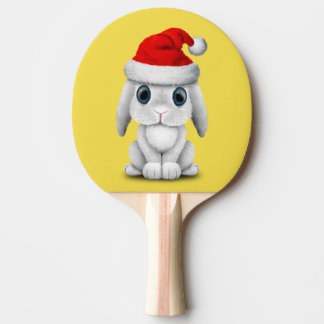 White Baby Bunny Wearing a Santa Hat Ping Pong Paddle