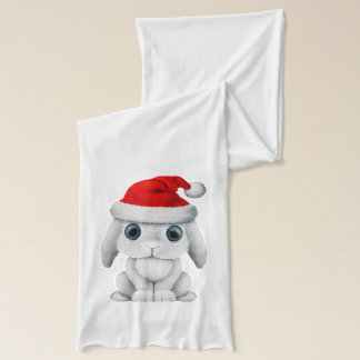 White Baby Bunny Wearing a Santa Hat Scarf